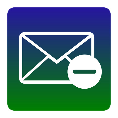 Mail sign illustration. Vector. White icon at green-blue gradient square with rounded corners on white background. Isolated.