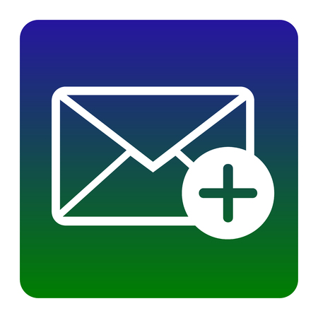 Mail sign illustration with add mark. Vector. White icon at green-blue gradient square with rounded corners on white background. Isolated.