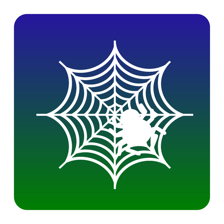 Spider on web illustration Vector. White icon at green-blue gradient square with rounded corners on white background. Isolated.
