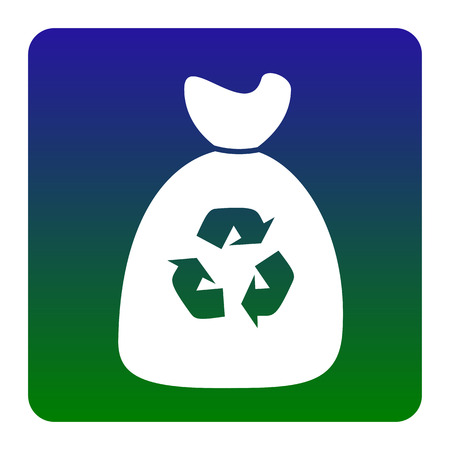 food waste: Trash bag icon. Vector. White icon at green-blue gradient square with rounded corners on white background. Isolated.