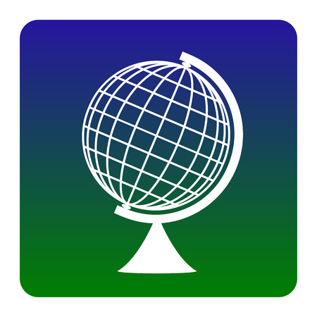 globe  the terrestrial ball: Earth Globe sign. Vector. White icon at green-blue gradient square with rounded corners on white background. Isolated.