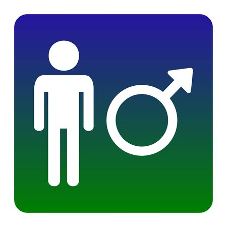 andropause: Male sign illustration. Vector. White icon at green-blue gradient square with rounded corners on white background. Isolated. Illustration