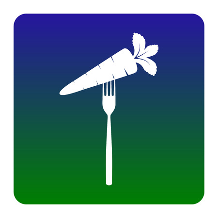 Vegetarian food sign illustration. Vector. White icon at green-blue gradient square with rounded corners on white background. Isolated. Ilustrace