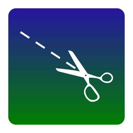 Scissors sign illustration. Vector. White icon at green-blue gradient square with rounded corners on white background. Isolated.