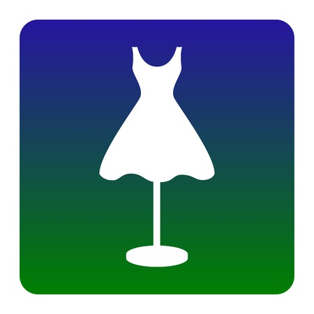 boutique display: Mannequin with dress sign. Vector. White icon at green-blue gradient square with rounded corners on white background. Isolated.
