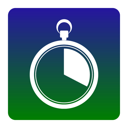 The 20 seconds, minutes stopwatch sign. Vector. White icon at green-blue gradient square with rounded corners on white background. Isolated.