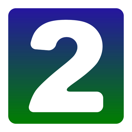 Number 2 sign design template elements. Vector. White icon at green-blue gradient square with rounded corners on white background. Isolated.