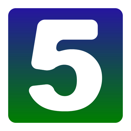 Number 5 sign design template element. Vector. White icon at green-blue gradient square with rounded corners on white background. Isolated.