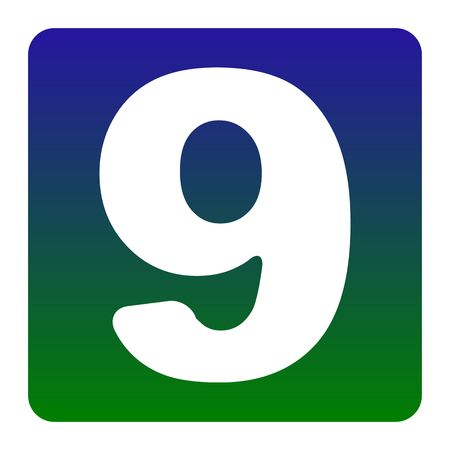 Number 9 sign design template element. Vector. White icon at green-blue gradient square with rounded corners on white background. Isolated.