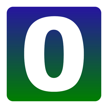 Number 0 sign design template element. Vector. White icon at green-blue gradient square with rounded corners on white background. Isolated.
