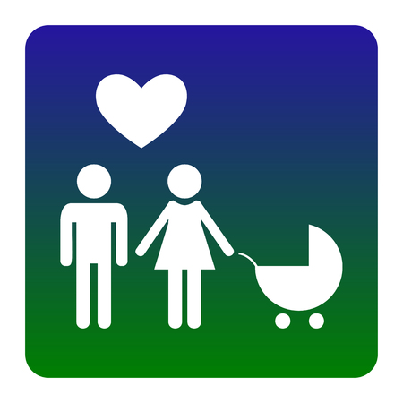 Family symbol with pram and heart. Husband and wife are kept each other`s hands. Love. Vector. White icon at green-blue gradient square with rounded corners on white background. Isolated.