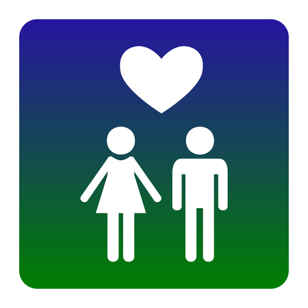 Family symbol with heart. Husband and wife are kept each other`s hands. Love. Vector. White icon at green-blue gradient square with rounded corners on white background. Isolated.