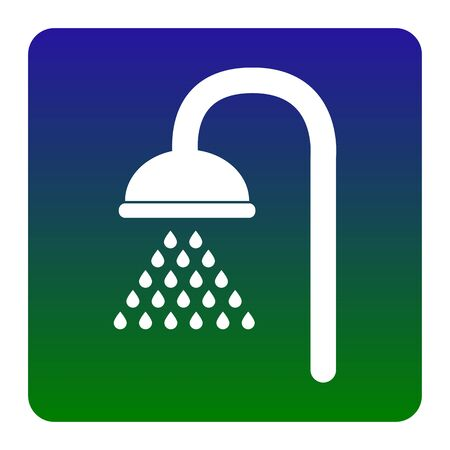 douche: Shower sign. Vector. White icon at green-blue gradient square with rounded corners on white background. Isolated. Illustration