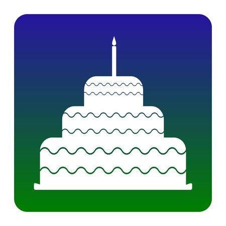 Cake with candle sign. Vector. White icon at green-blue gradient square with rounded corners on white background. Isolated.