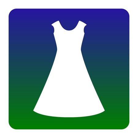 beautiful long dress sign Vector. White icon at green-blue gradient square with rounded corners on white background. Isolated. Illustration