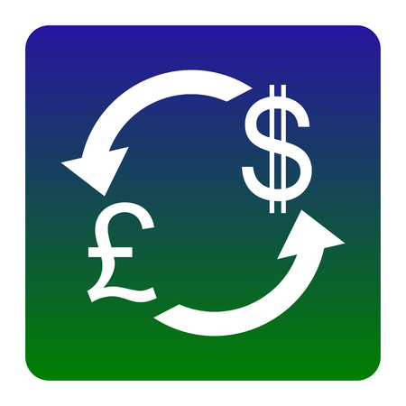 Currency exchange sign. UK: Pound and US Dollar. Vector. White icon at green-blue gradient square with rounded corners on white background. Isolated.