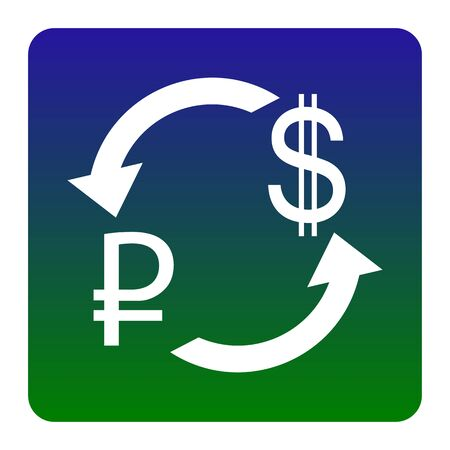 rouble: Currency exchange sign. Rouble and US Dollar Vector. White icon at green-blue gradient square with rounded corners on white background. Isolated.