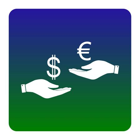 adn: Currency exchange from hand to hand. Dollar adn Euro. Vector. White icon at green-blue gradient square with rounded corners on white background. Isolated.