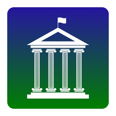 roman column: Historical building with flag. Vector. White icon at green-blue gradient square with rounded corners on white background. Isolated.