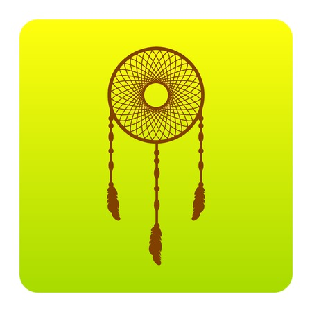 Dream catcher sign. Vector. Brown icon at green-yellow gradient square with rounded corners on white background. Isolated. Illustration