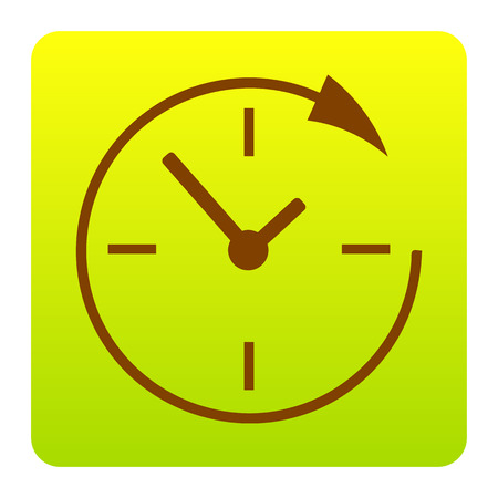 Service and support for customers around the clock and 24 hours. Vector. Brown icon at green-yellow gradient square with rounded corners on white background. Isolated. 일러스트