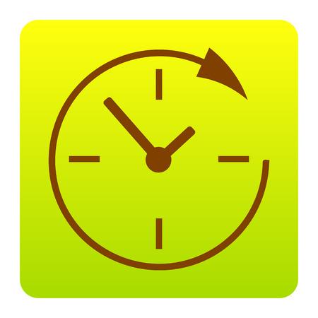 Service en ondersteuning voor klanten 24 uur per dag en 24 uur. Vector. Bruin pictogram bij groen-geel gradiëntvierkant met rond gemaakte hoeken op witte achtergrond. Geïsoleerd.