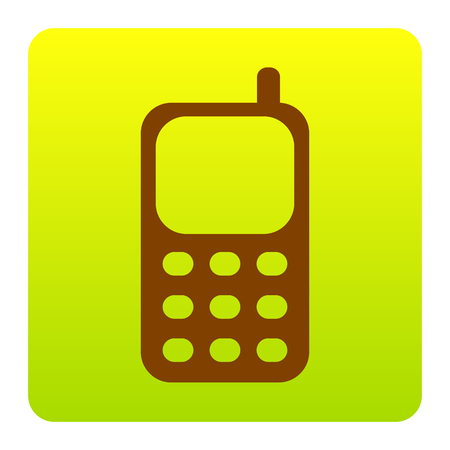 Cell Phone sign. Vector. Brown icon at green-yellow gradient square with rounded corners on white background. Isolated.