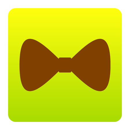 Bow Tie icon. Vector. Brown icon at green-yellow gradient square with rounded corners on white background. Isolated.