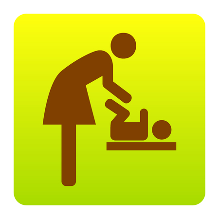 Symbol for women and baby, baby changing. Vector. Brown icon at green-yellow gradient square with rounded corners on white background. Isolated.