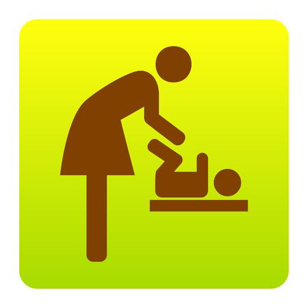 Symbol für Frauen und Baby, Baby ändern. Vektor. Brown-Ikone am grün-gelben Steigungsquadrat mit gerundeten Ecken auf weißem Hintergrund. Isoliert. Illustration