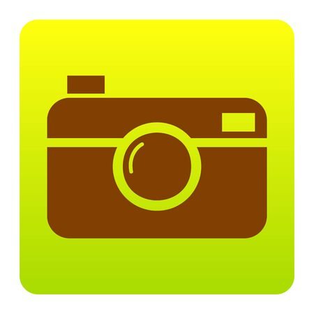 Digital photo camera sign. Vector. Brown icon at green-yellow gradient square with rounded corners on white background. Isolated.