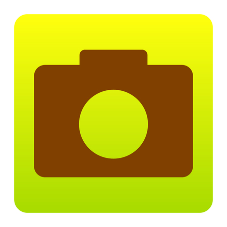 Digital camera sign. Vector. Brown icon at green-yellow gradient square with rounded corners on white background. Isolated.