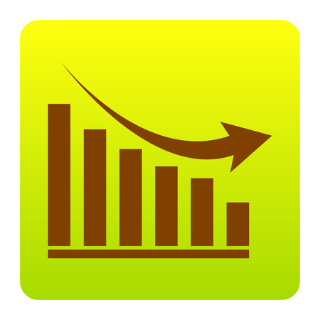 declining: Declining graph sign. Vector. Brown icon at green-yellow gradient square with rounded corners on white background. Isolated. Illustration