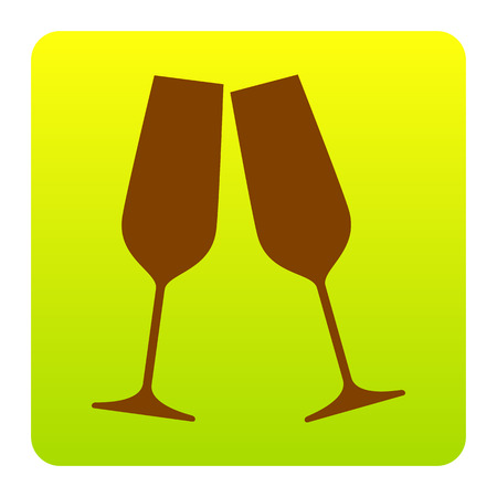Sparkling champagne glasses. Vector. Brown icon at green-yellow gradient square with rounded corners on white background. Isolated. Illustration