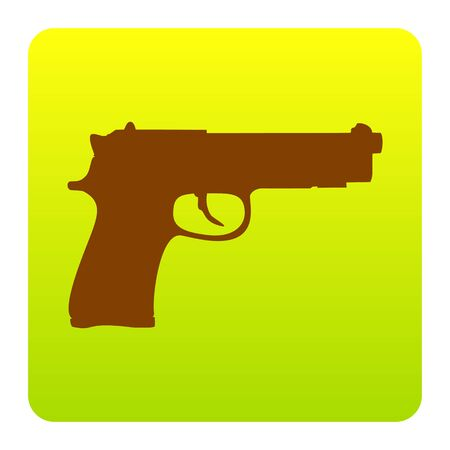 Gun sign illustration. Vector. Brown icon at green-yellow gradient square with rounded corners on white background. Isolated. Illustration