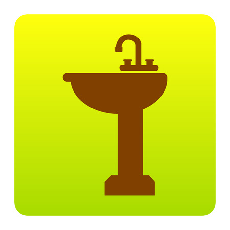 Bathroom sink sign. Vector. Brown icon at green-yellow gradient square with rounded corners on white background. Isolated.