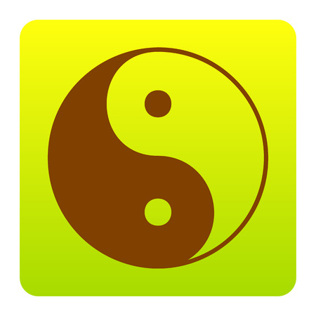 Ying yang symbol of harmony and balance. Vector. Brown icon at green-yellow gradient square with rounded corners on white background. Isolated. Illustration