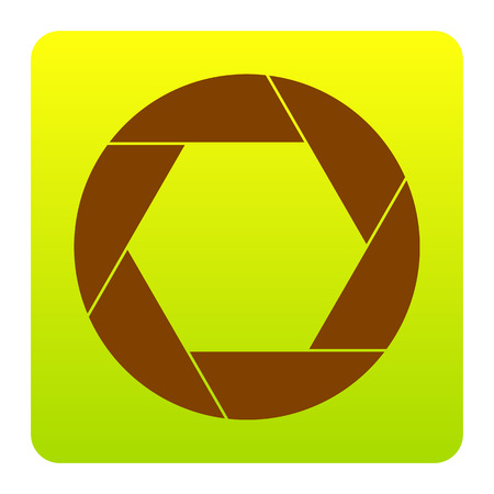 Photo sign illustration. Vector. Brown icon at green-yellow gradient square with rounded corners on white background. Isolated.