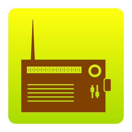 Radio sign illustration. Vector. Brown icon at green-yellow gradient square with rounded corners on white background. Isolated. Illustration