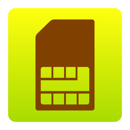 Sim card sign. Vector. Brown icon at green-yellow gradient square with rounded corners on white background. Isolated.