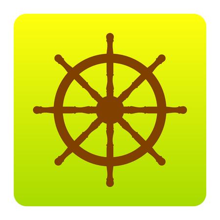 Panneau de roue du navire. Vecteur. Icône Brown sur un carré gradient vert-jaune avec des coins arrondis sur fond blanc. Isolé.
