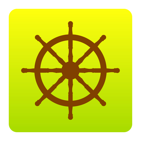 command: Ship wheel sign. Vector. Brown icon at green-yellow gradient square with rounded corners on white background. Isolated.