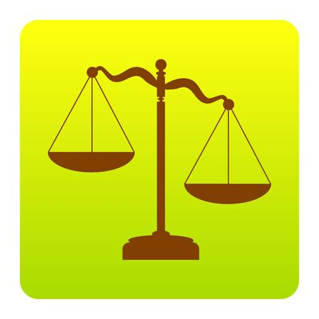 Scales of Justice sign. Vector. Brown icon at green-yellow gradient square with rounded corners on white background. Isolated.