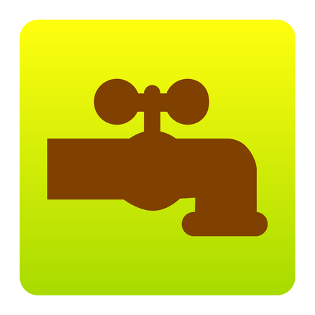 Water faucet sign illustration. Vector. Brown icon at green-yellow gradient square with rounded corners on white background. Isolated. Illustration