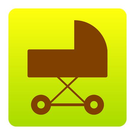 perambulator: Pram sign illustration. Vector. Brown icon at green-yellow gradient square with rounded corners on white background. Isolated. Illustration