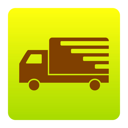 semitruck: Delivery sign illustration. Vector. Brown icon at green-yellow gradient square with rounded corners on white background. Isolated. Illustration