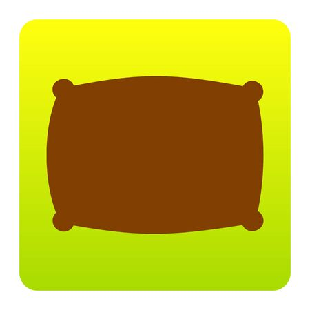 Pillow sign illustration. Vector. Brown icon at green-yellow gradient square with rounded corners on white background. Isolated.