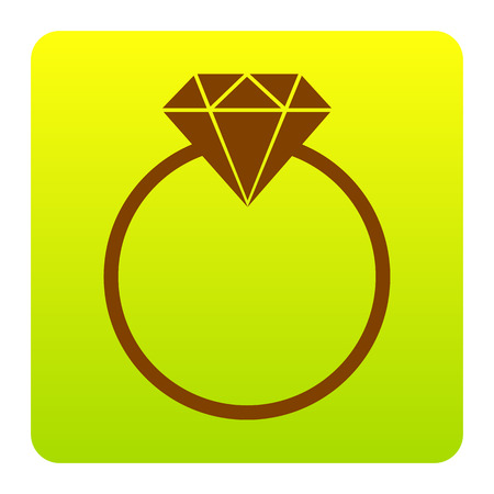 Diamond sign illustration. Vector. Brown icon at green-yellow gradient square with rounded corners on white background. Isolated.