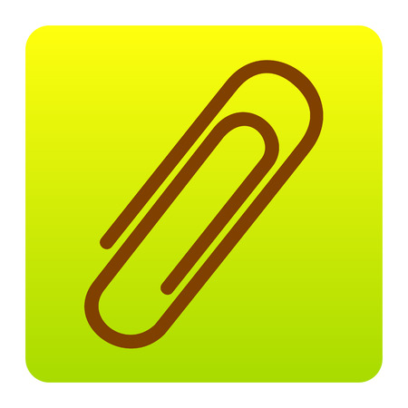 memo pad: Clip sign illustration. Vector. Brown icon at green-yellow gradient square with rounded corners on white background. Isolated. Illustration