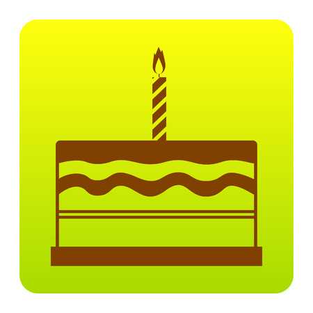 Birthday cake sign. Vector. Brown icon at green-yellow gradient square with rounded corners on white background. Isolated.